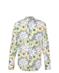 Camisa de manga larga con print de flores gris de Prada