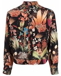 Camisa de manga larga con print de flores negra de Lanvin
