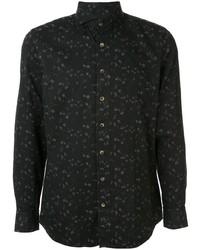 Camisa de manga larga con print de flores negra de Lardini