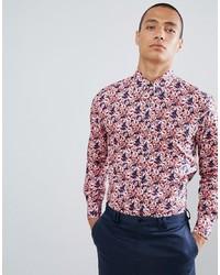 Camisa de manga larga con print de flores roja