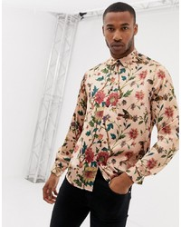 Camisa de manga larga con print de flores rosada