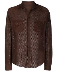 Camisa de manga larga de ante en marrón oscuro de Tagliatore