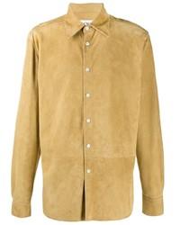 Camisa de manga larga de ante marrón claro de Loewe