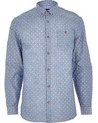 Camisa de manga larga de cambray a lunares en blanco y azul