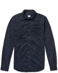 Camisa de manga larga de cambray azul marino de Incotex