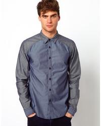 Camisa de manga larga de cambray azul marino de Izzue