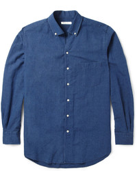 Camisa de manga larga de cambray azul marino de Loro Piana