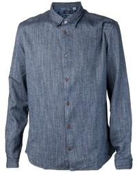 Camisa de manga larga de cambray azul marino de Paul Smith
