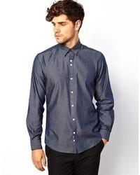Camisa de manga larga de cambray azul marino de Red Eleven