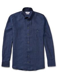 Camisa de manga larga de cambray azul marino de Richard James
