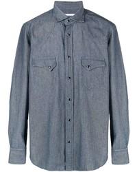 Camisa de manga larga de cambray azul marino de Tagliatore