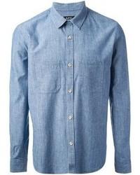 Camisa de manga larga de cambray azul de A.P.C.