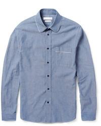 Camisa de Manga Larga de Cambray Azul de Alexander McQueen