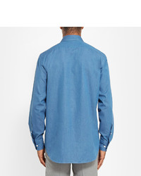 Camisa de Manga Larga de Cambray Azul de Loro Piana
