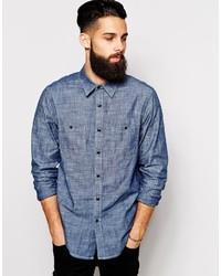 Camisa de manga larga de cambray azul de Asos
