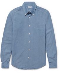 Camisa de manga larga de cambray azul de Boglioli