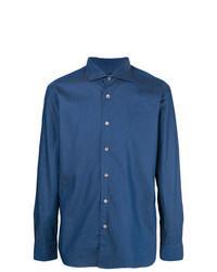 Camisa de Manga Larga de Cambray Azul de Borriello