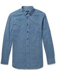 Camisa de Manga Larga de Cambray Azul de Brioni
