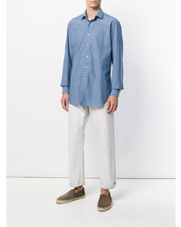 Camisa de Manga Larga de Cambray Azul de Bagutta