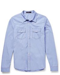 Camisa de Manga Larga de Cambray Azul de Gucci