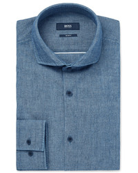 Camisa de manga larga de cambray azul de Hugo Boss