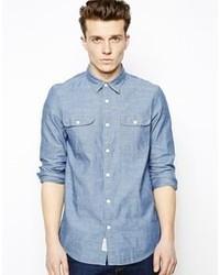Camisa de Manga Larga de Cambray Azul de Jack Wills