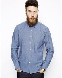 Camisa de manga larga de cambray azul de YMC
