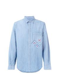 Camisa de manga larga de cambray bordada celeste de Ermanno Scervino