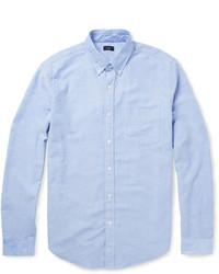 Camisa de manga larga de cambray celeste