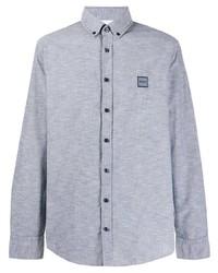 Camisa de manga larga de cambray celeste de BOSS HUGO BOSS