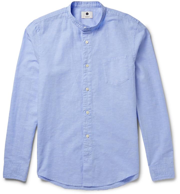 71a1d45dd ... Camisa de manga larga de cambray celeste ...