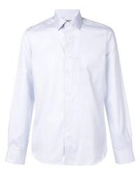 Camisa de manga larga de cambray celeste de Canali
