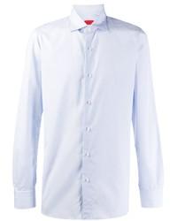 Camisa de manga larga de cambray celeste de Isaia