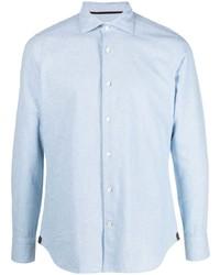 Camisa de manga larga de cambray celeste de Tintoria Mattei