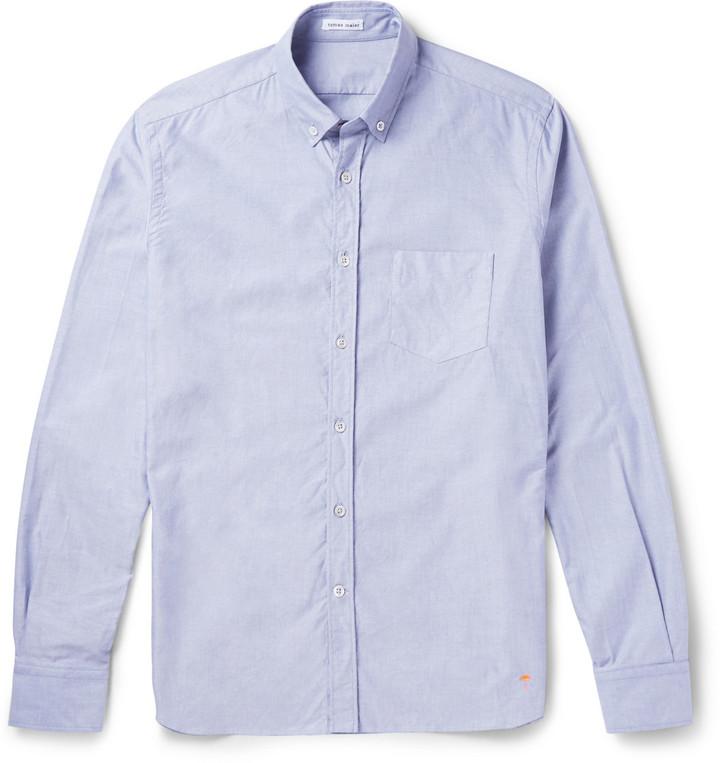 a40af5a60 ... Camisa de manga larga de cambray celeste de Tomas Maier ...