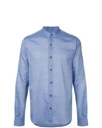 Camisa de manga larga de cambray celeste de YMC