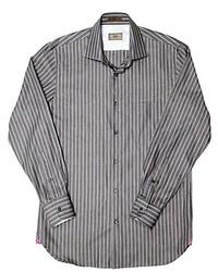 Camisa de manga larga de cambray de rayas verticales gris
