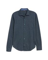 Camisa de manga larga de cambray en gris oscuro