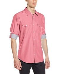 Camisa de manga larga de cambray rosada