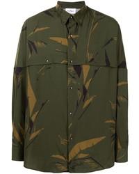 Camisa de manga larga de camuflaje verde oscuro de Salvatore Ferragamo