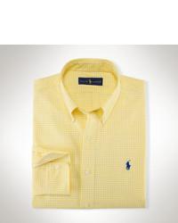Camisa de manga larga de cuadro vichy amarilla