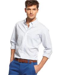Camisa de manga larga de cuadro vichy blanca