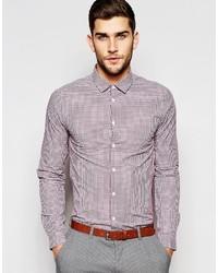 Camisa de manga larga de cuadro vichy burdeos de Asos
