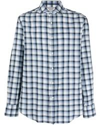 Camisa de manga larga de cuadro vichy celeste de Brunello Cucinelli