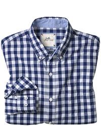 Camisa de manga larga de cuadro vichy en azul marino y blanco