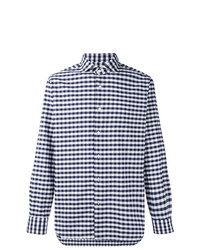 Camisa de manga larga de cuadro vichy en azul marino y blanco de Barba