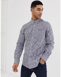 Camisa de manga larga de cuadro vichy en azul marino y blanco de Ben Sherman