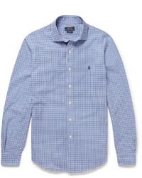 Camisa de manga larga de cuadro vichy en azul marino y blanco de Polo Ralph Lauren