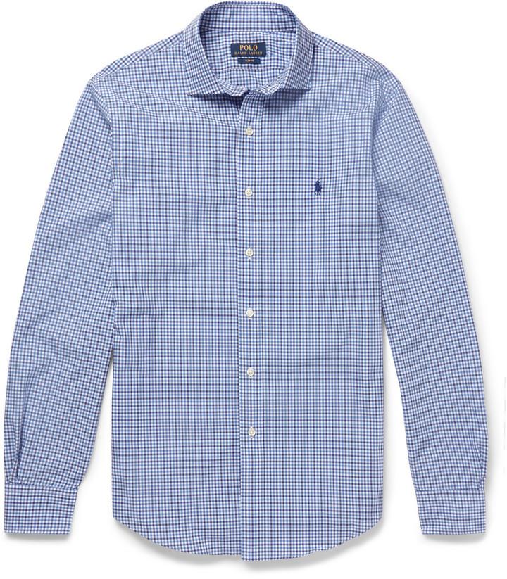 14796e18d ... Camisa de Manga Larga de Cuadro Vichy en Azul Marino y Blanco de Polo  Ralph Lauren ...