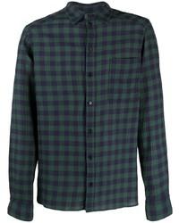 Camisa de manga larga de cuadro vichy en azul marino y verde de Henrik Vibskov